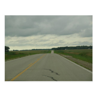 Country Driving - Long Road - Green Grass Postcard