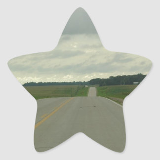 Country Driving - Long Road - Green Grass Star Sticker
