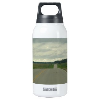 Country Driving - Long Road - Green Grass Thermos Bottle