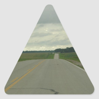 Country Driving - Long Road - Green Grass Triangle Sticker