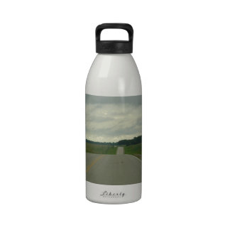 Country Driving - Long Road - Green Grass Drinking Bottle