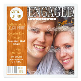 """Country engagement magazine PERSONALIZE 5.25"""" Square Invitation Card"""