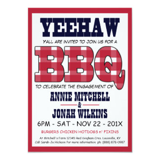 Country Engagement Party Picnic BBQ 4.5x6.25 Paper Invitation Card