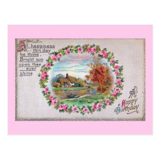 Country Estate Vignette Vintage Birthday Postcard