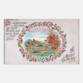 Country Estate Vignette Vintage Birthday Rectangular Sticker