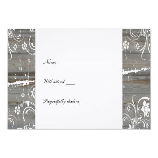 """Country Faded Wood rsvp 3.5"""" X 5"""" Invitation Card"""