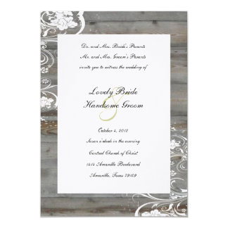 "Country Faded Wood Wedding Invitation 5"" X 7"" Invitation Card"