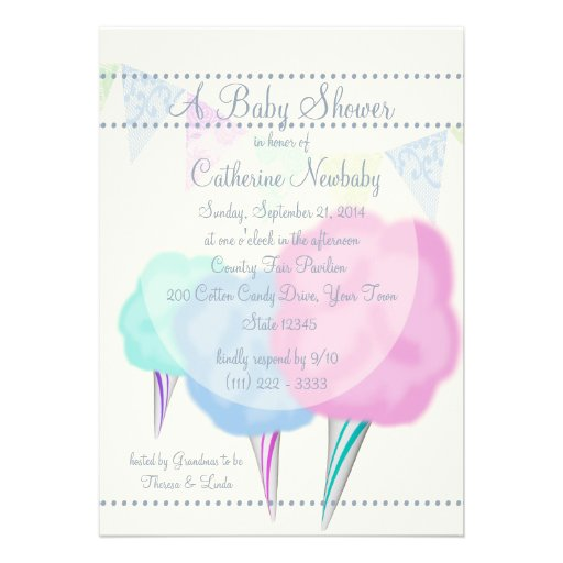 Country Fair Cotton Candy Baby Shower Custom Invite