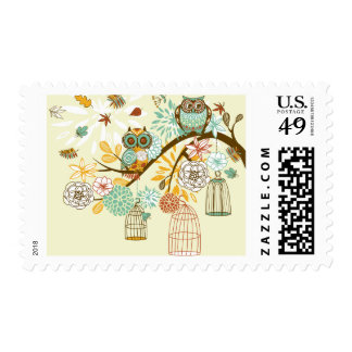 Country Fall Autumn Owls Cages Postage Flowers