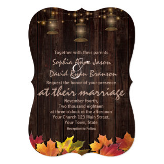 Country Fall Leaves Old Lanterns Wood Wedding Card