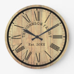 Country Famly Name & Est. | Rustic Light Wood Large Clock