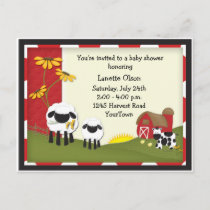 Country Farm Baby Shower Postcard Invitation