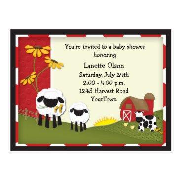mybabybundles Country Farm Baby Shower Postcard Invitation