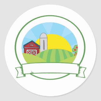 Country Farm Banner Classic Round Sticker