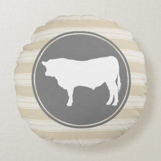 Country Farm Creamy Tan White Bull Silhouette Round Pillow