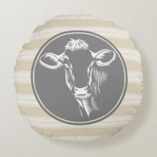 Country Farm Creamy Tan White Cow Sketch Round Pillow