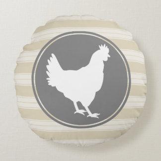 Country Farm Creamy Tan White Hen Silhouette Round Pillow