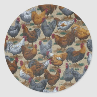 Country Farm Fun Roosters & Hens Stickers
