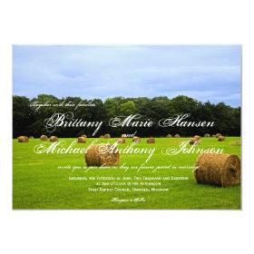 Country Farm Hay Bales Rustic Wedding Invitations 4.5