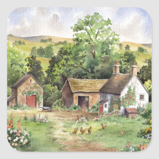 """Country Farm"" idyllic country landscape Square Sticker"