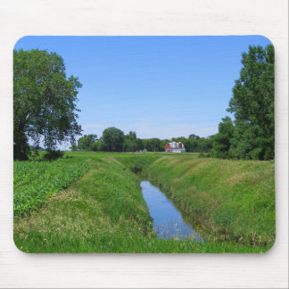 Country farm landscape photo barn irrigation ditch mouse pad