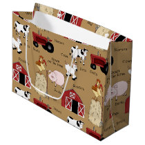Country Farm pattern large gift bag