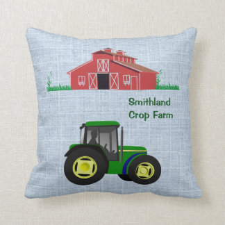 Country Farm Red Barn Green Tractor Optional Name Throw Pillow