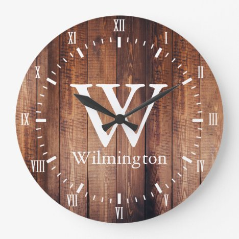 Country Farm Rustic Dark Barn Wood Planks Large Clock