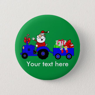 Country Farm Santa On Tractor With Gifts Button