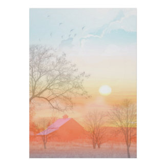 Country farm sunrise pastel colors poster