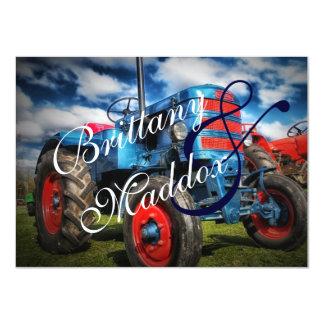 Country Farm Tractor Blue Wedding Invitations