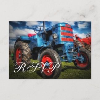 Country Farm Tractor Blue Wedding RSVP Cards