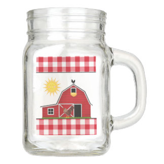 Country Farm with roosters mason jars