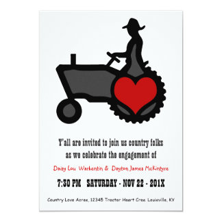 Country Farmer Love Cute Tractor Engagement Party 5x7 Paper Invitation Card