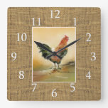 Country Farmhouse Rooster Rustic Burlap Jute Square Wall Clock