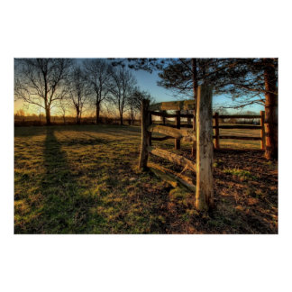 Country Fence Landscape Photo Nature Wall Poster