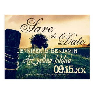 Country Field Fence Post Save the Date Postcards