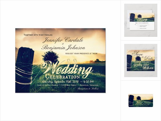 Country Field Fence Post Wedding Invitation Set