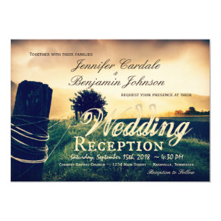 Country Field Fence Post Wedding Reception Invites