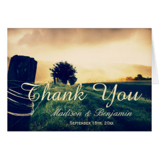 Country Field Fence Post Wedding Thank You Cards