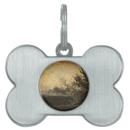 Country Field landscape Rustic Winter Trees Pet Name Tag