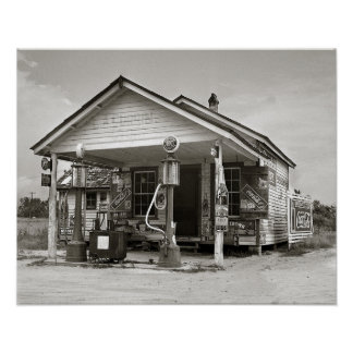 Country Filling Station, 1939. Vintage Photo Poster