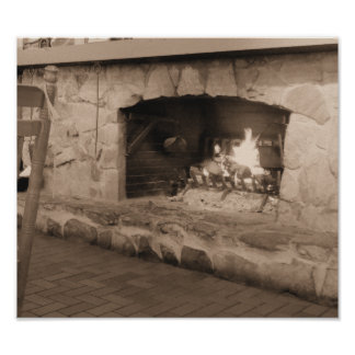 Country Fireplace Sepia Photograph Poster