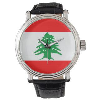 country flag lebanon wrist watch