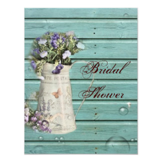 country floral barn wood rustic bridal shower card
