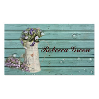 country floral barn wood rustic wedding business card