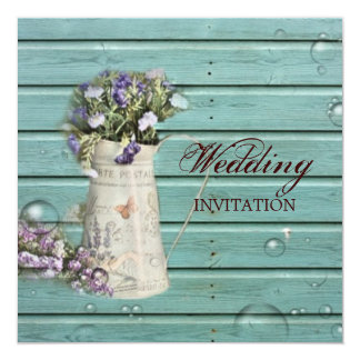 country floral barn wood rustic wedding card