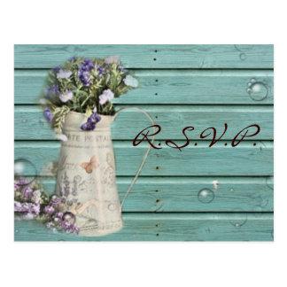 country floral barn wood rustic wedding rsvp postcard