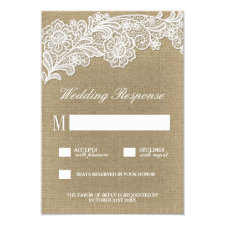 Country Floral Burlap and Lace Wedding RSVP Cards