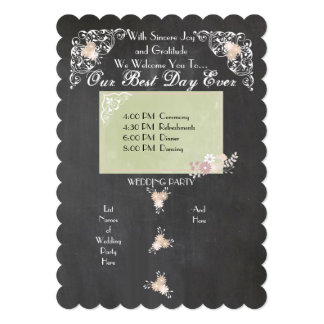 Country Floral Chalkboard Wedding Programs Card